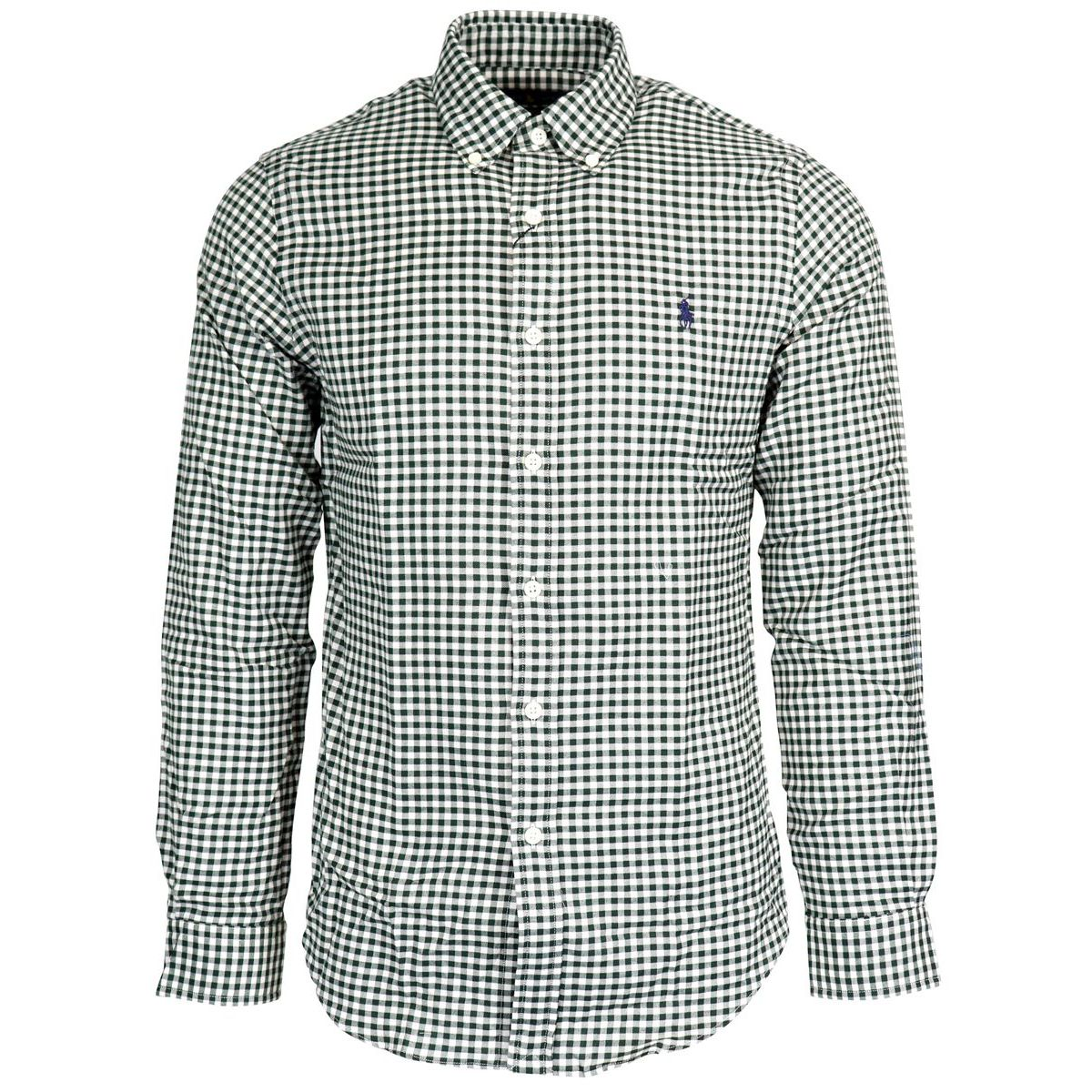 Slim botton down cotton shirt with micro square pattern Green Polo Ralph Lauren