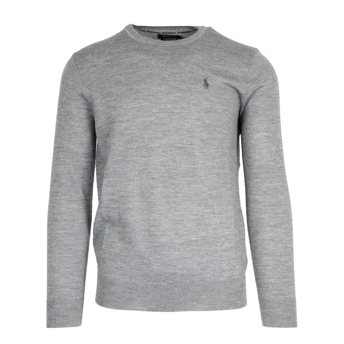 Wool crewneck pullover with logo embroidery Grey Polo Ralph Lauren