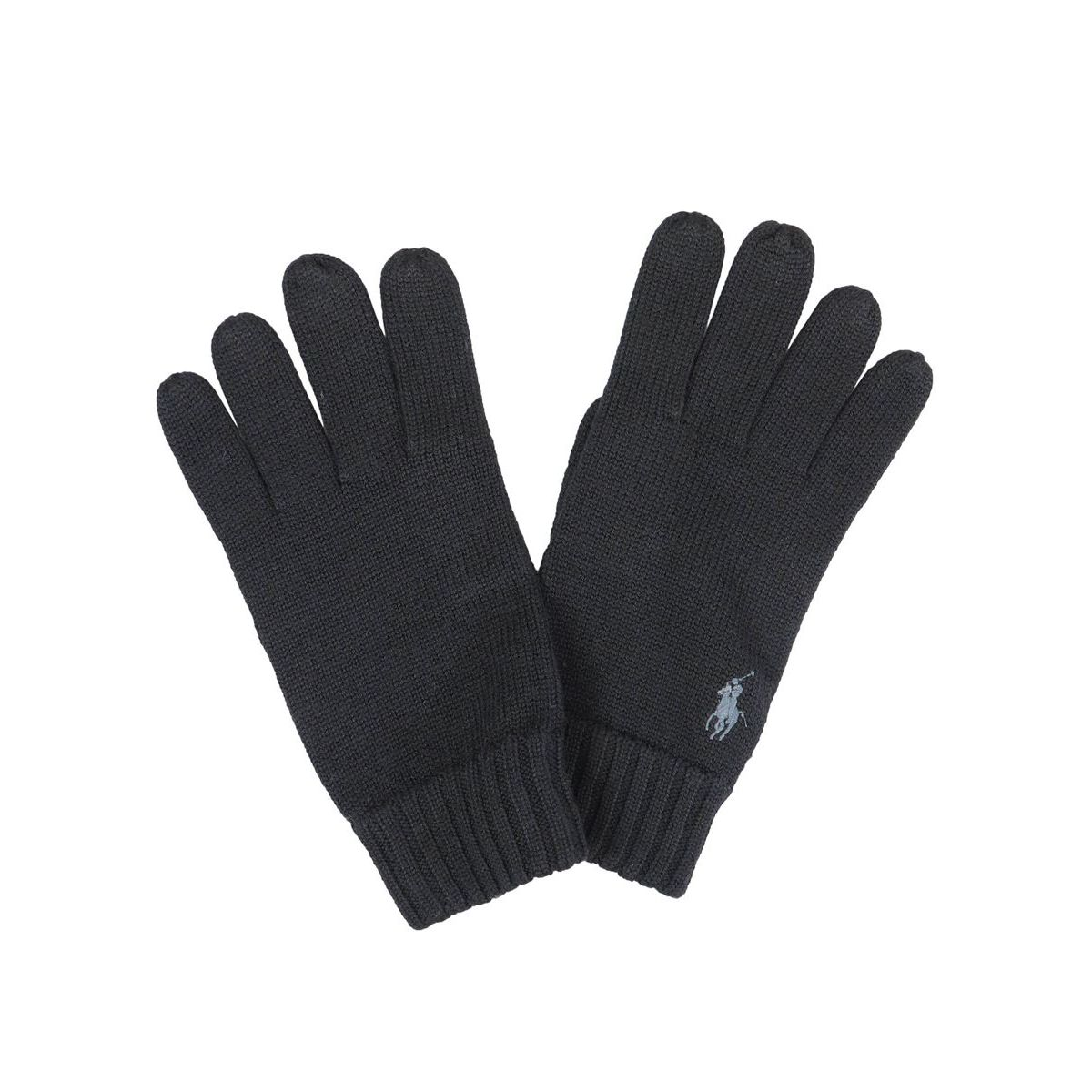 Wool gloves with logo embroidery Black Polo Ralph Lauren