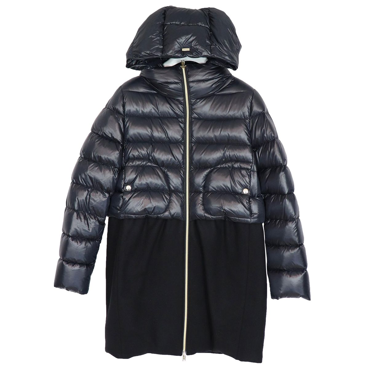 Nylon jacket with hood and wool cloth insert Black Herno