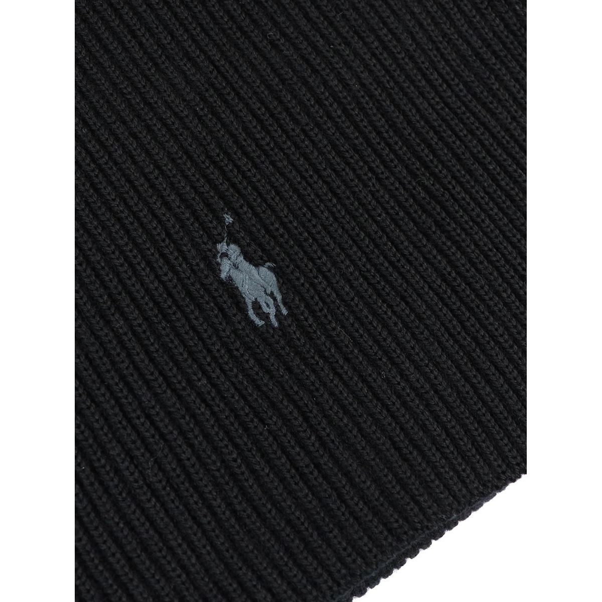 Ribbed wool scarf with logo embroidery Black Polo Ralph Lauren
