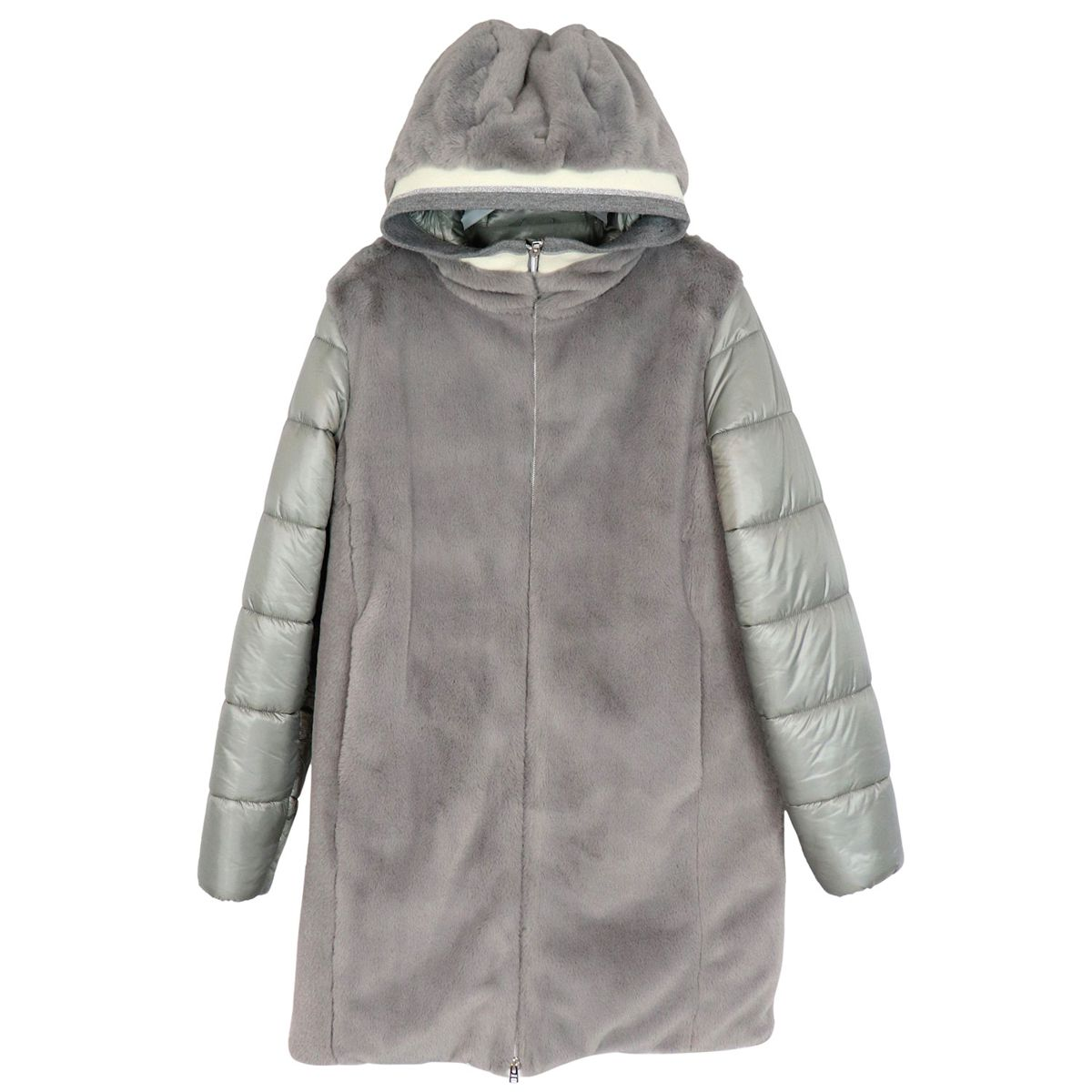 Bi-material jacket with fur-effect inserts and hood Grey Herno