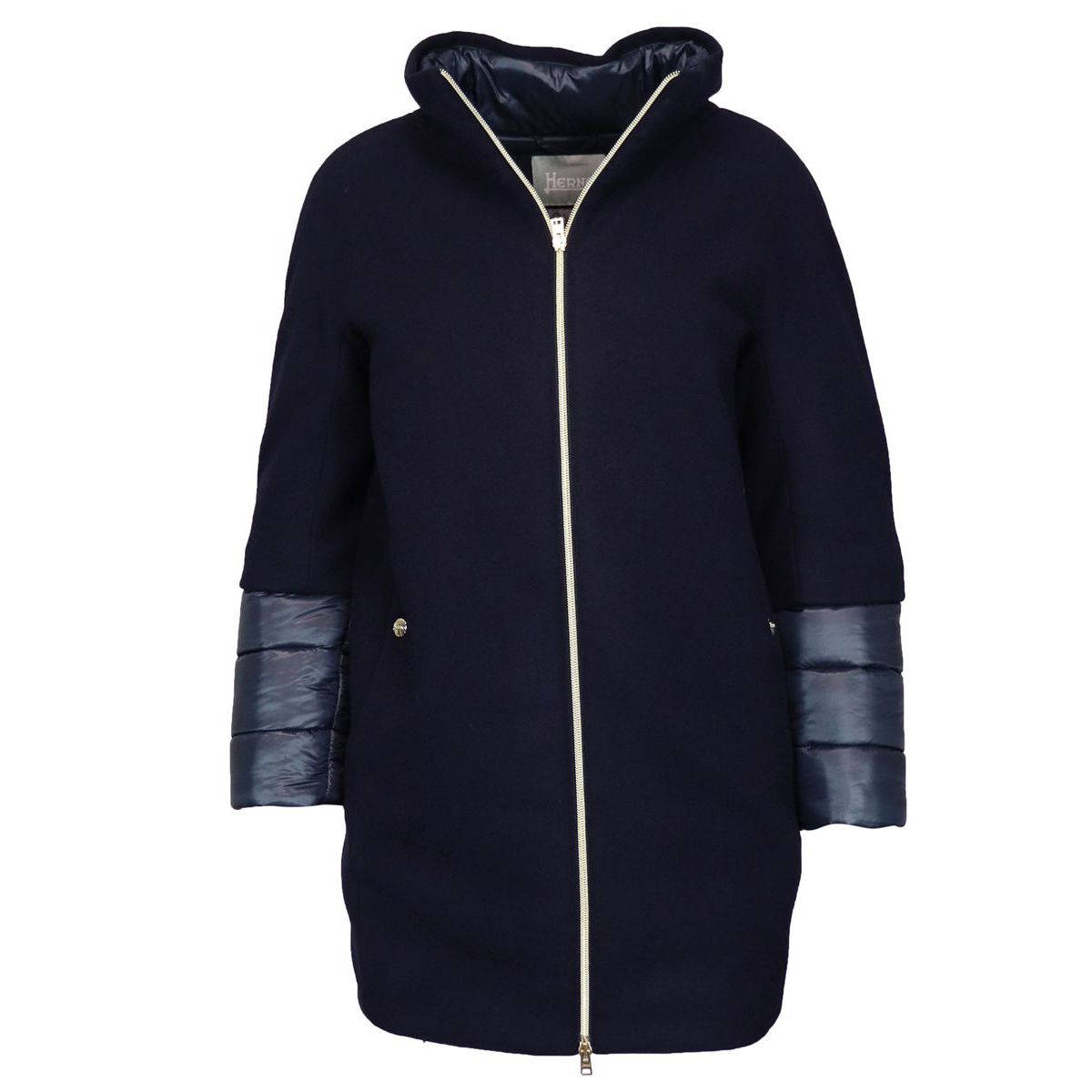 Wool cloth coat with thermal padding Blue Herno