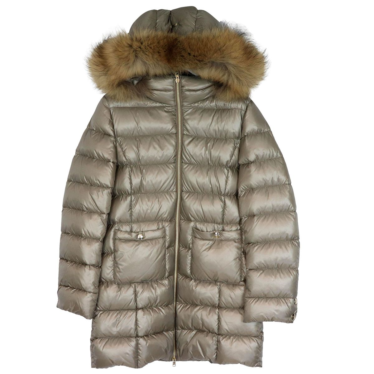 Padded jacket with hood and fur insert Light dove Herno