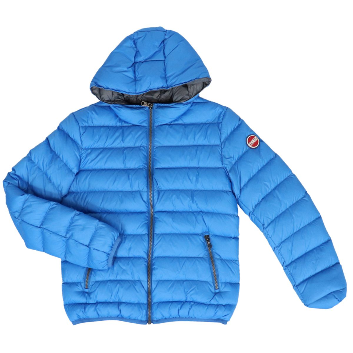 Down jacket with fixed hood Light blue Colmar