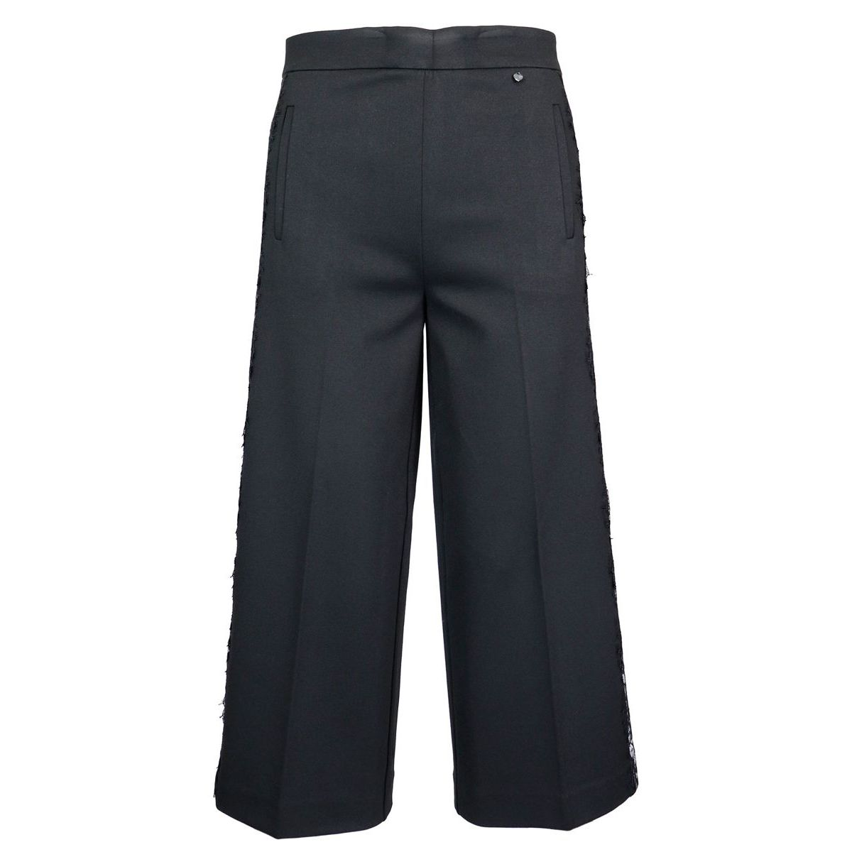Pantalon court avec bandeau contrastant en dentelle Noir Twin-Set