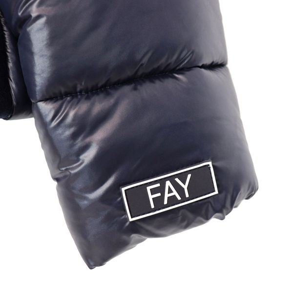 Two-material jacket with hood in nylon and woolen cloth Blue Fay