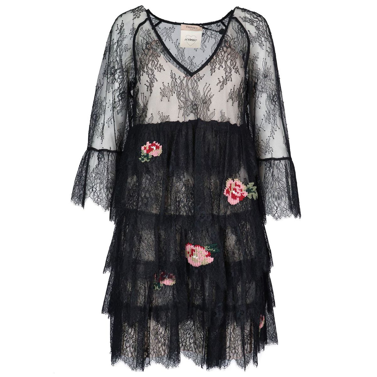 Lace dress with flounces and knit stitch embroidery Black Twin-Set