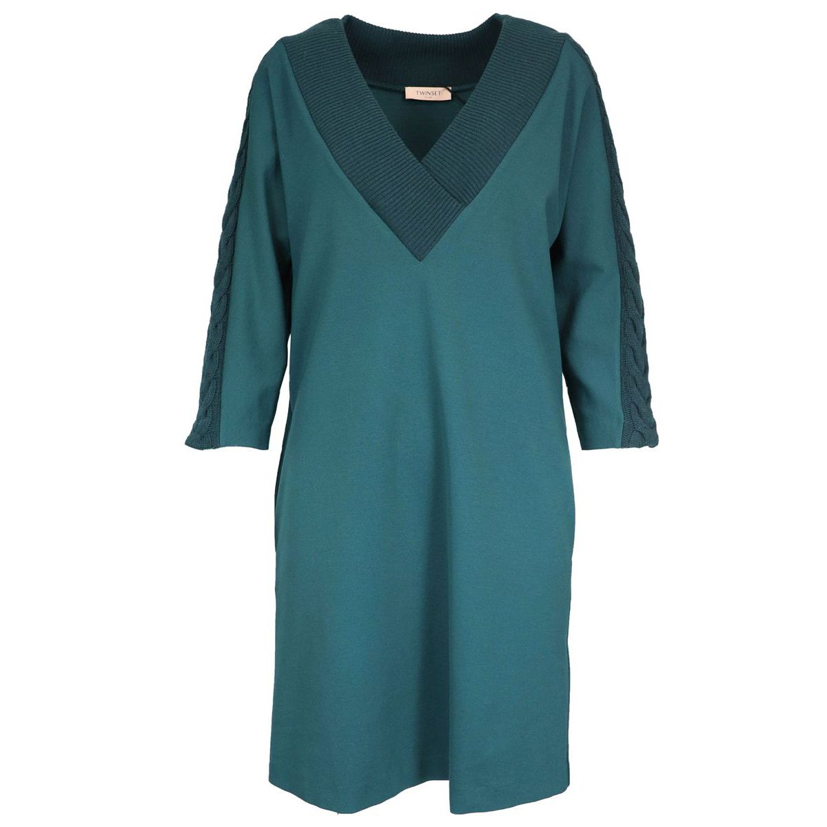 Wide neck dress with tricot inserts Green Twin-Set