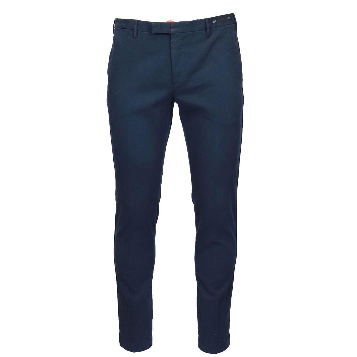 Solid color cotton skinny pants Blue PT01