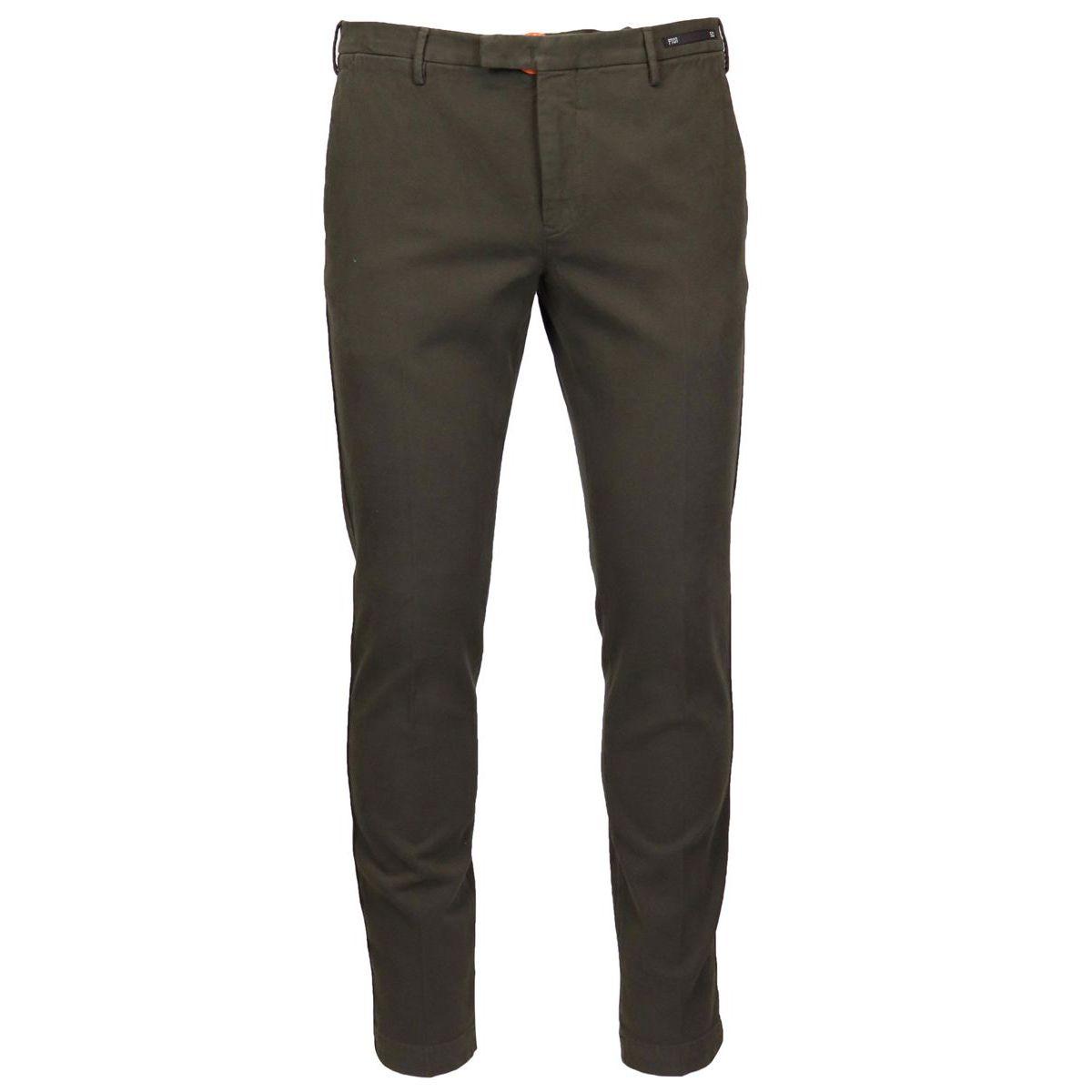 Solid color cotton skinny pants Brown PT01