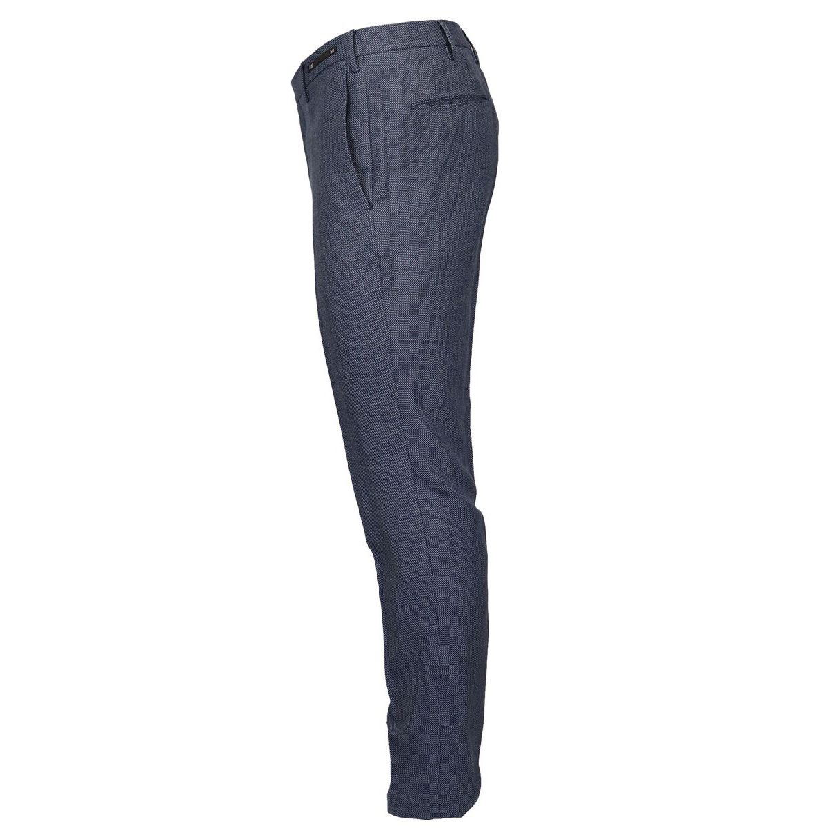 Skinny pants in pure micro patterned wool Blue PT01
