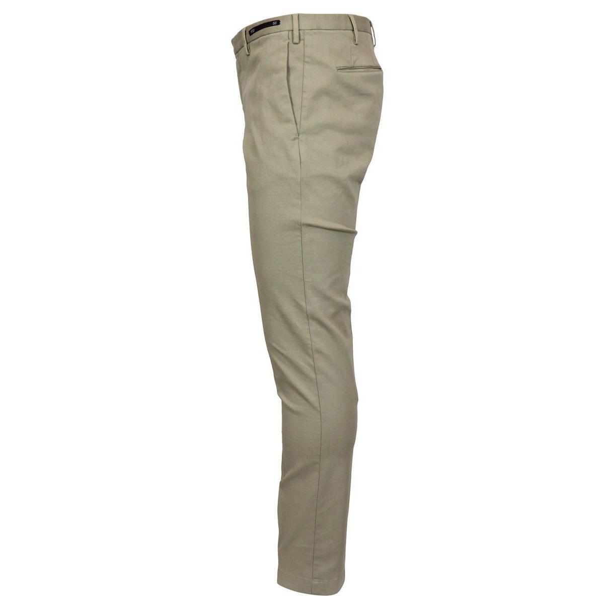 Solid color cotton skinny pants Beige PT01