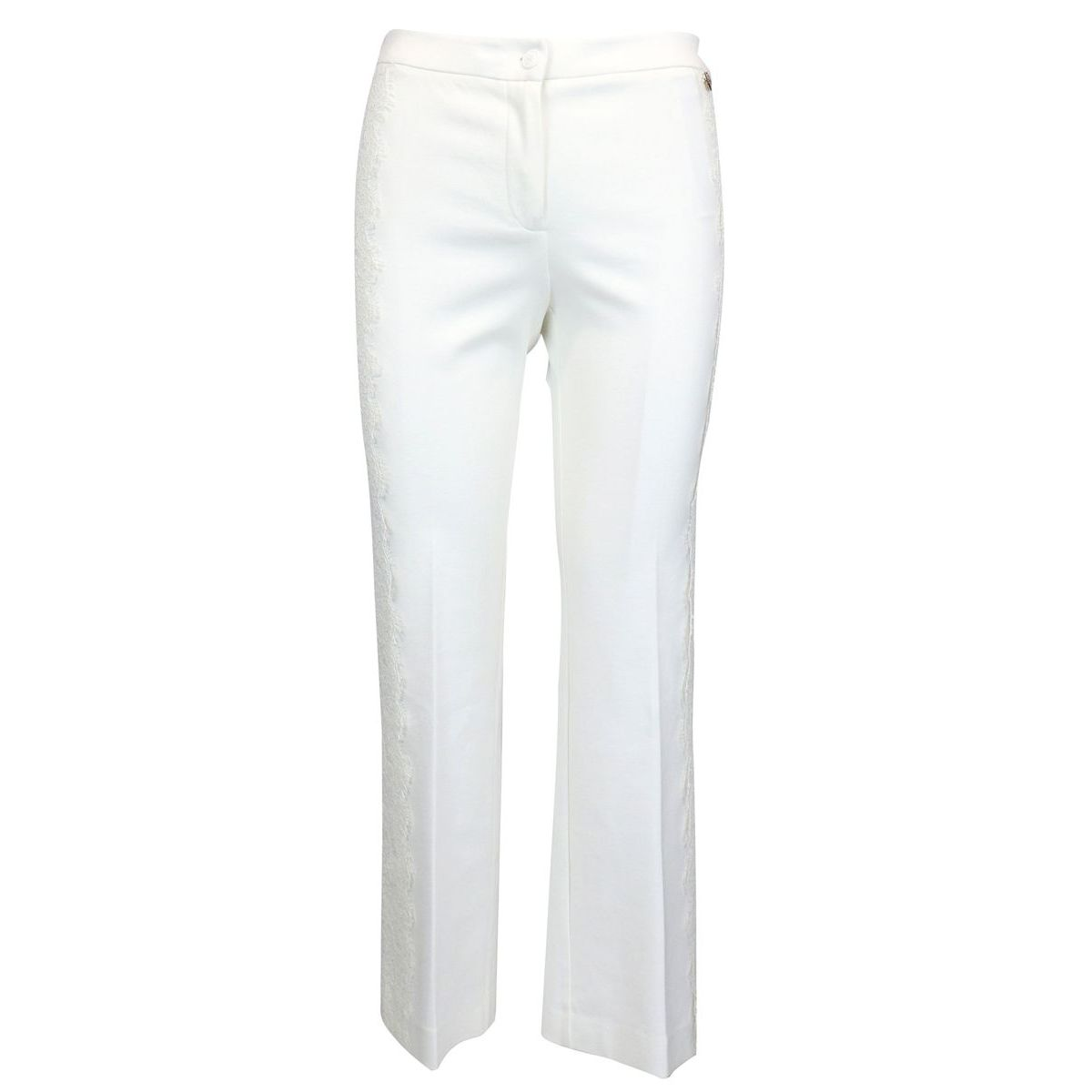 Cropped trousers with lace inserts White Twin-Set