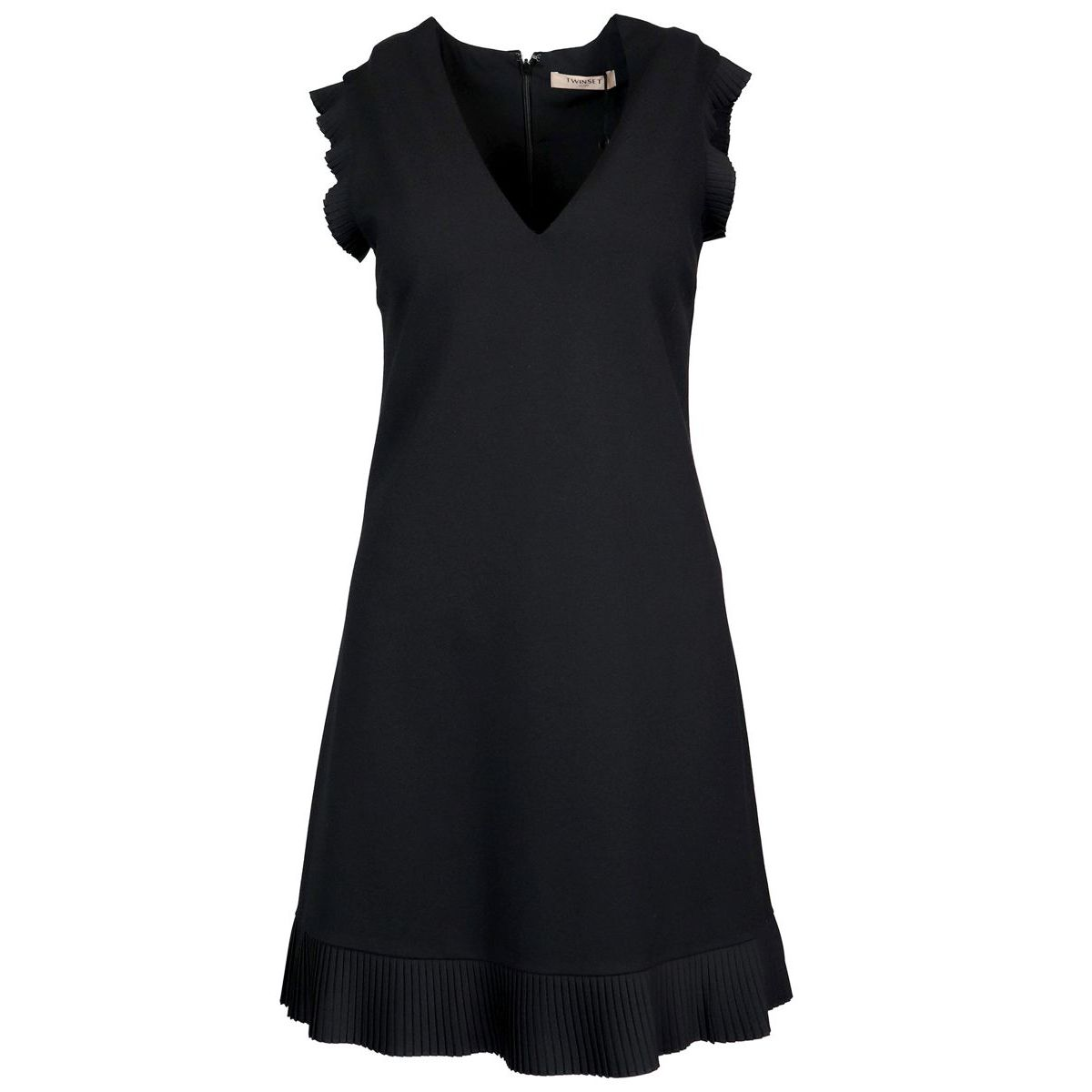 Sleeveless V-neck dress with pleated details Black Twin-Set