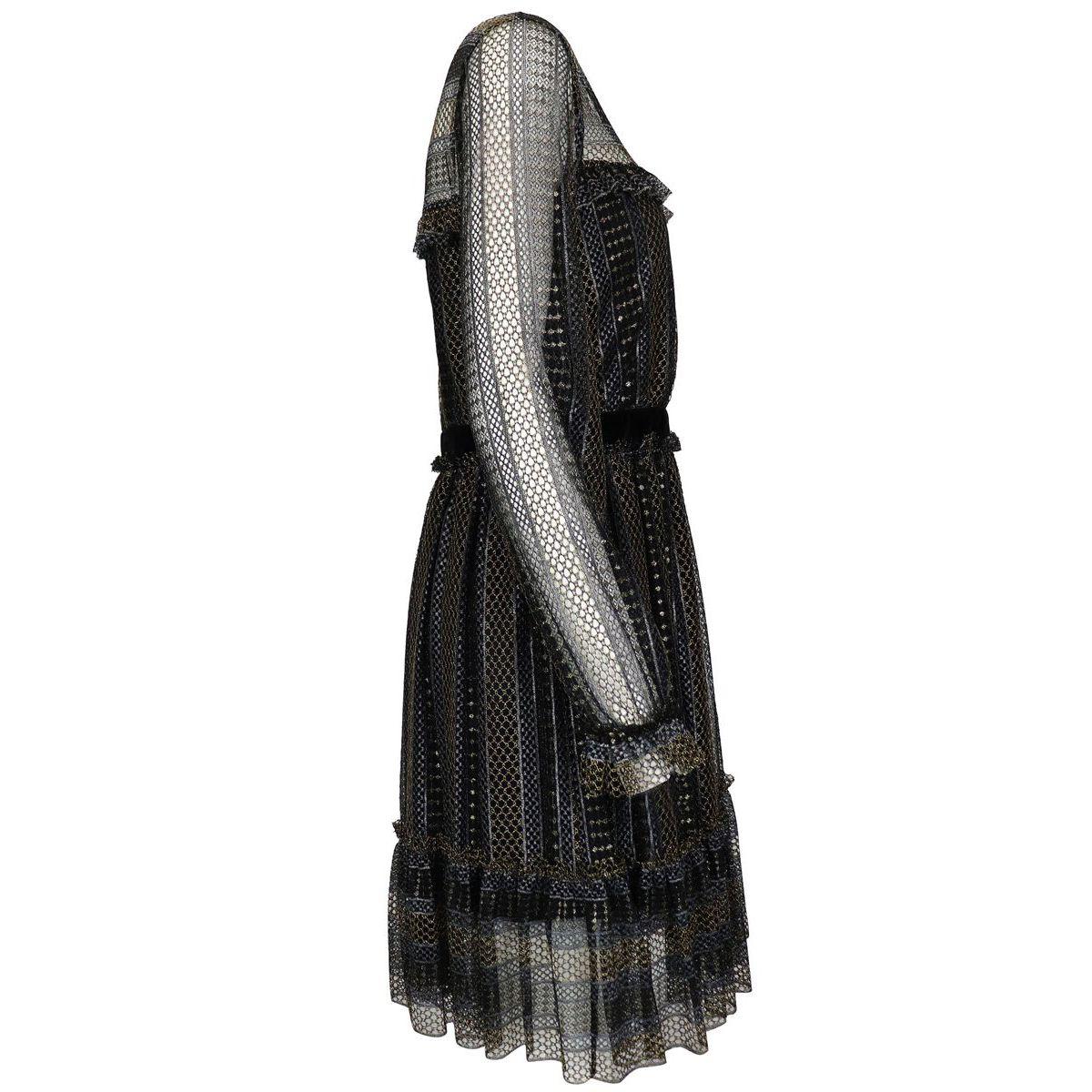 Short lurex lace dress with velvet inserts Black Twin-Set