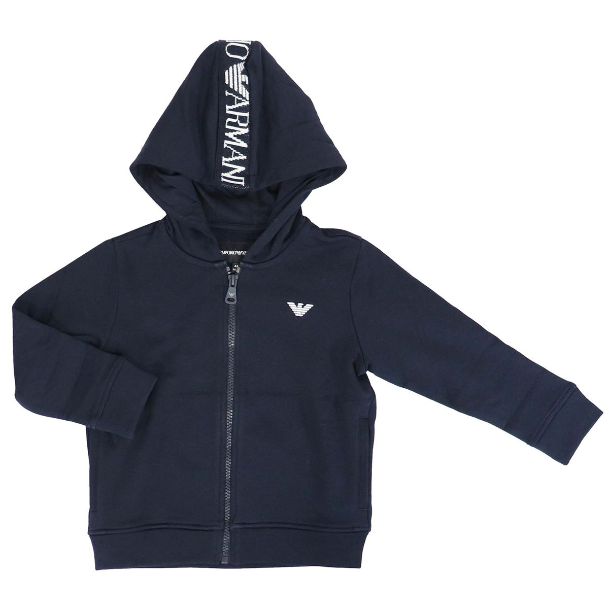 Cotton sweatshirt with hood and logo embroidery Blue Emporio Armani