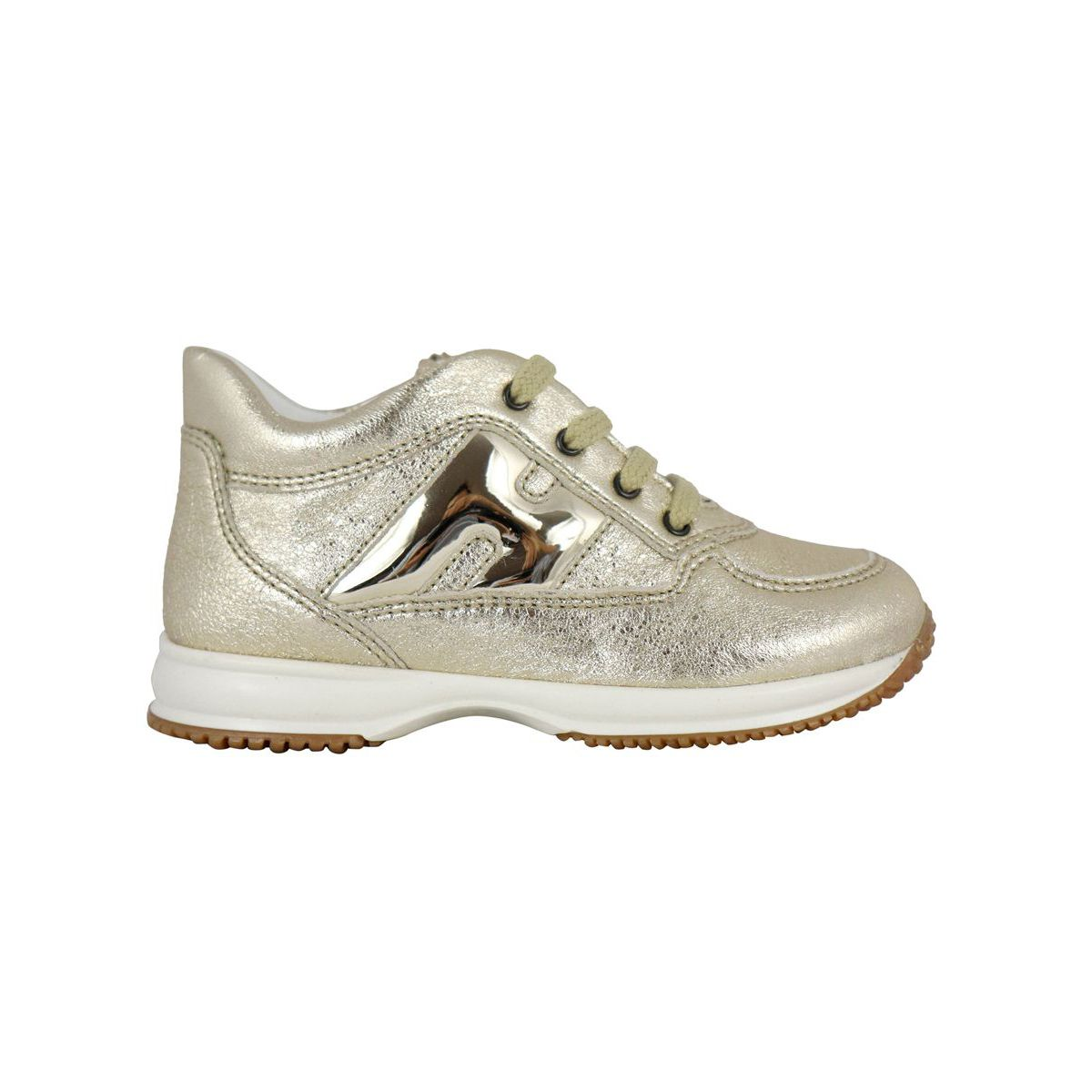 Interactive lamè gold sneakers with shiny H Gold Hogan