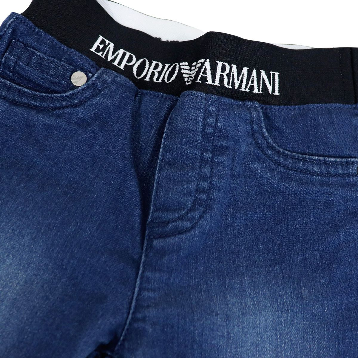 Jeans in stretch denim used 5 pockets with elastic band Blue denim Emporio Armani