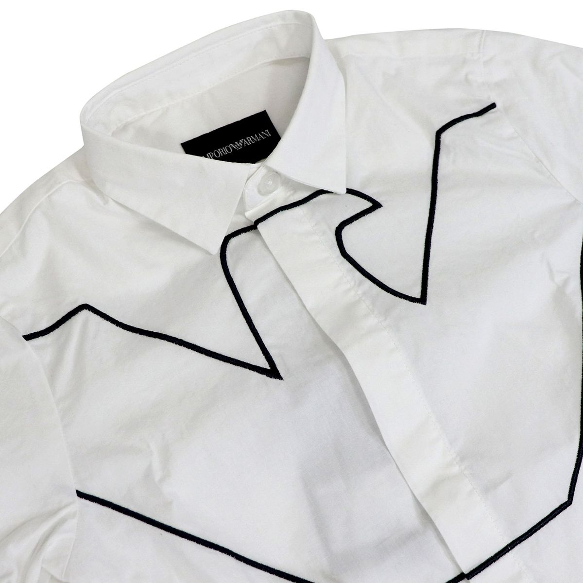 Slim stretch cotton shirt with big logo Optical white Emporio Armani