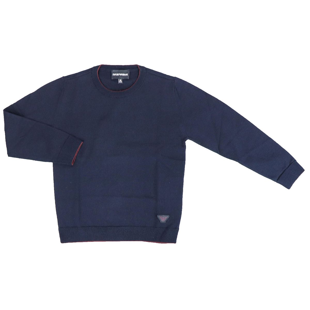 Crewneck sweater with contrasting edge and logo Blue Emporio Armani