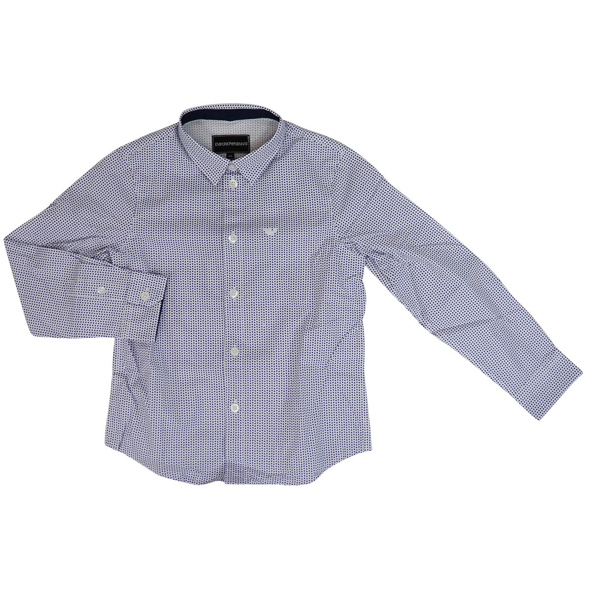 Micro-pattern shirt with small logo Fancy white Emporio Armani