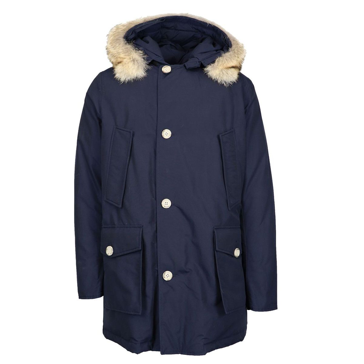 Arctic Water repellent parka with fur trimmed hood Blue Woolrich