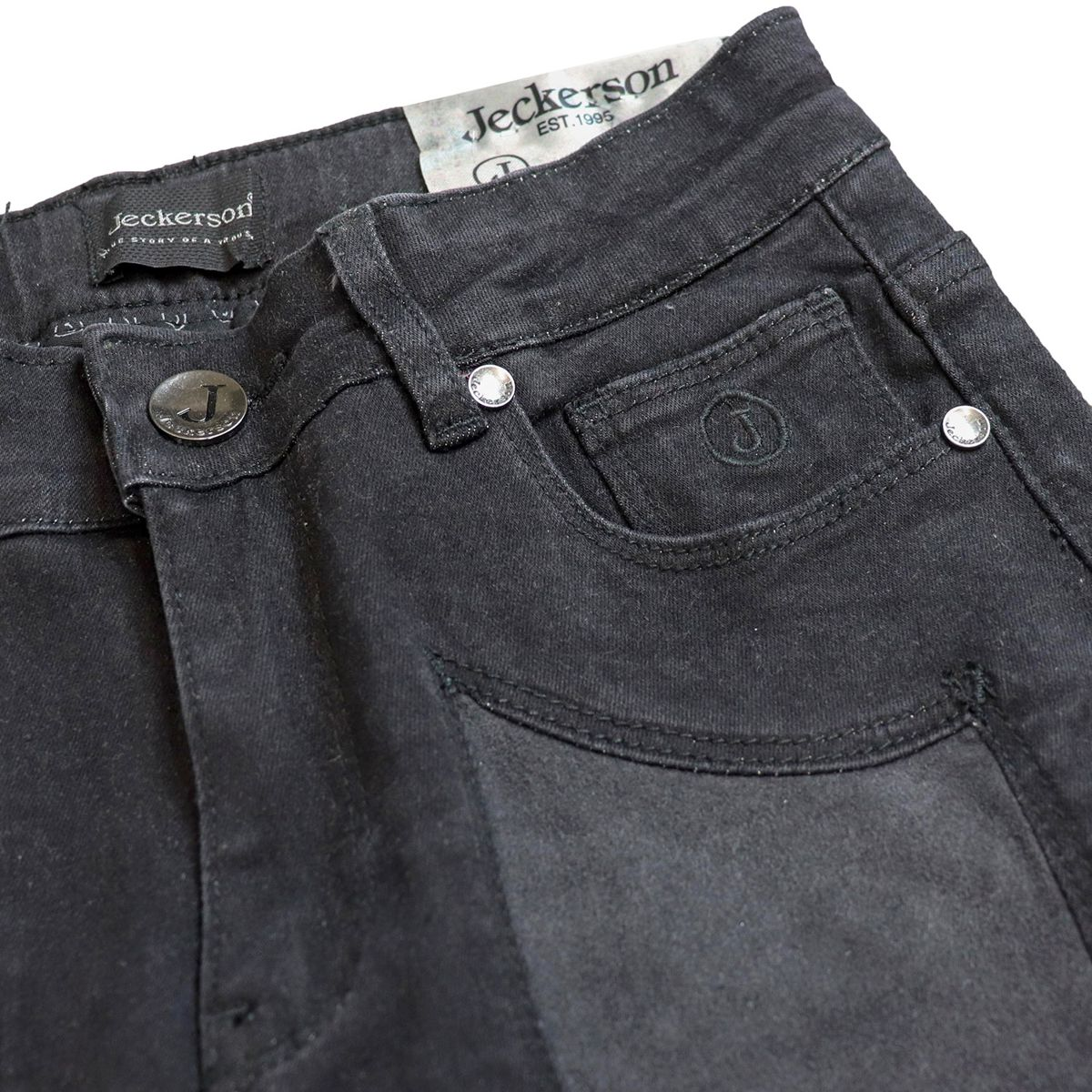 5-pocket jeans in black denim with alcantara patches Black denim Jeckerson
