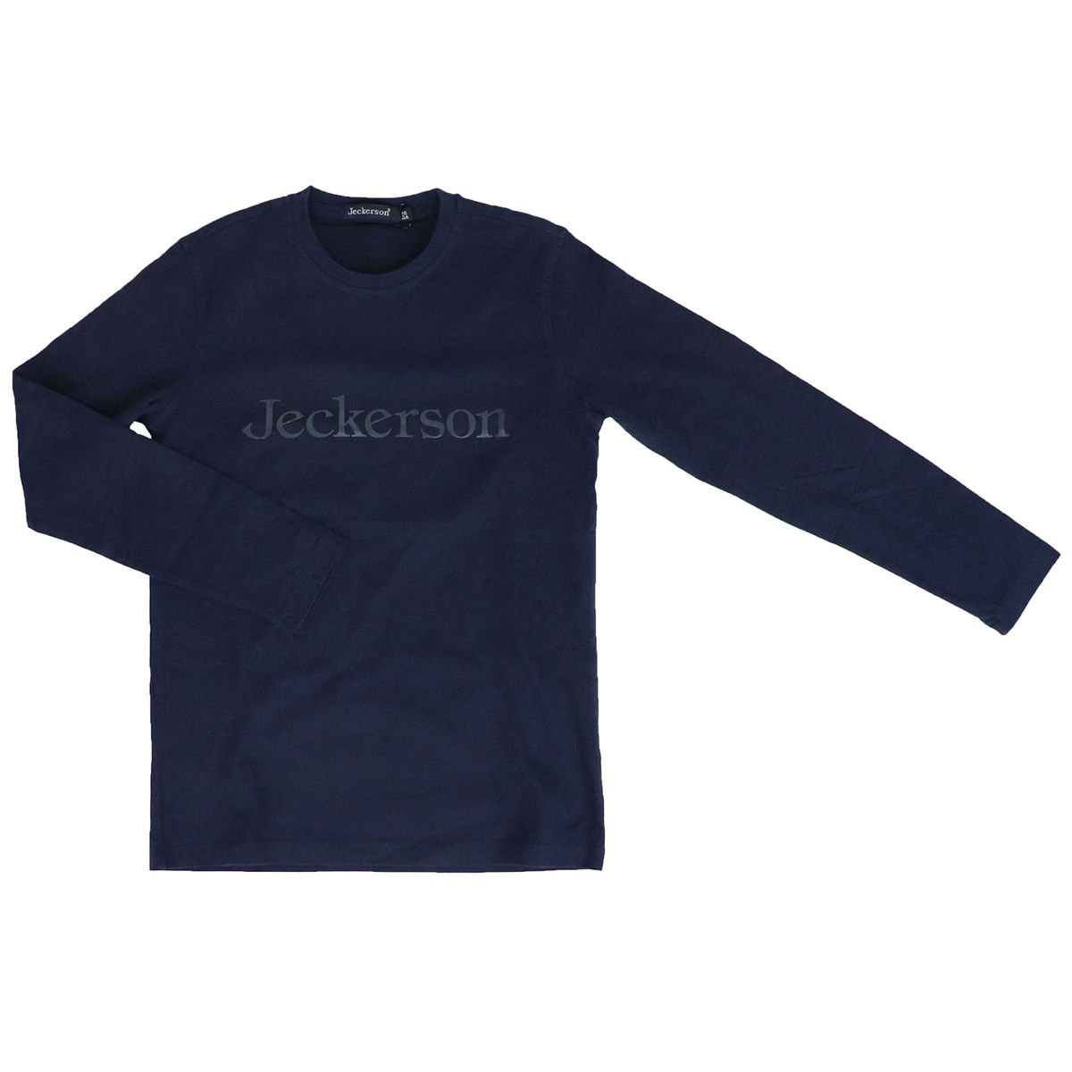 Cotton crew neck sweater with contrasting logo print Navy Jeckerson
