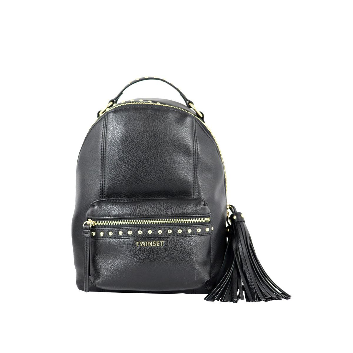 Leatherette backpack with studs applications Black Twin-Set