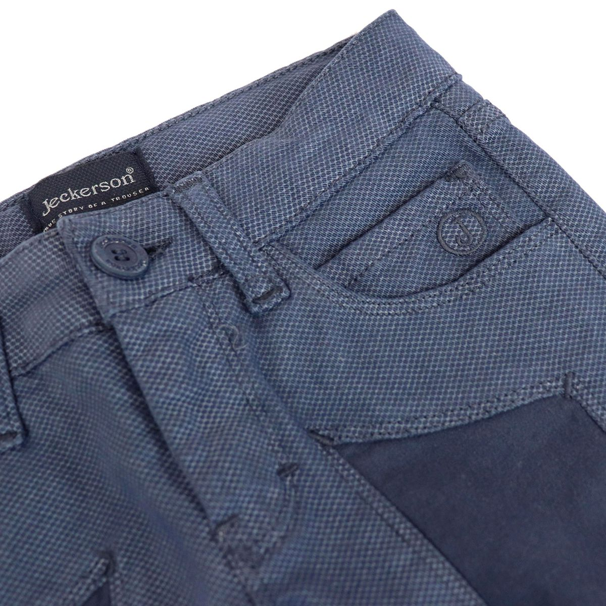Micro patterned trousers with contrasting patches Blue Jeckerson