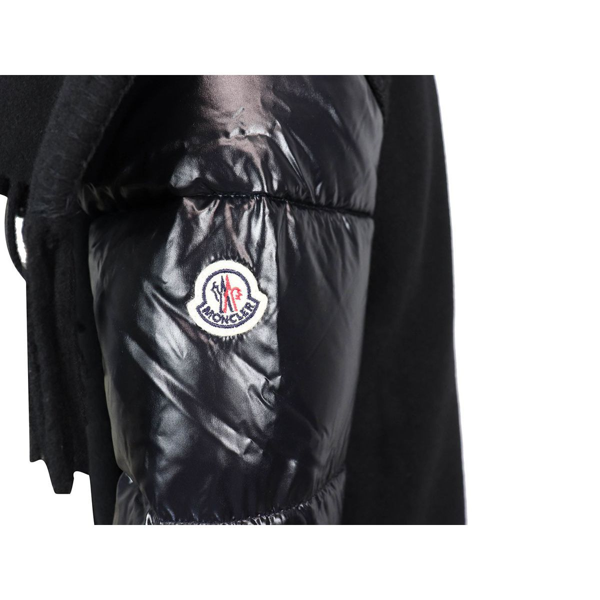 Quilted down jacket with wool fringes Black Moncler