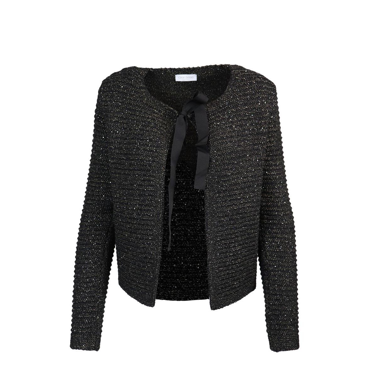 Wool knitted cardigan with ribbon Black Gran Sasso