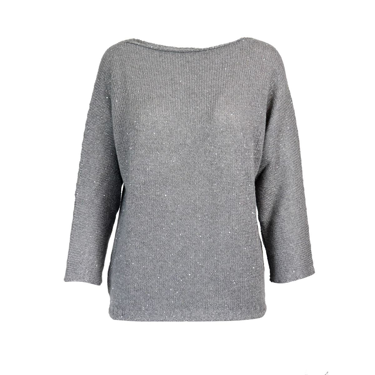 Knitted wool sweater with three-quarter sleeves Medium gray Gran Sasso