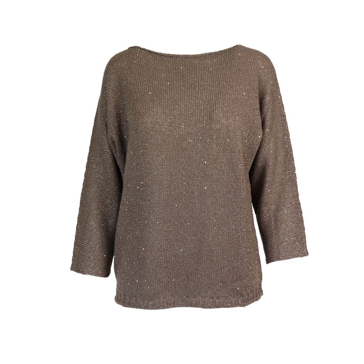 Knitted wool sweater with three-quarter sleeves Brown Gran Sasso