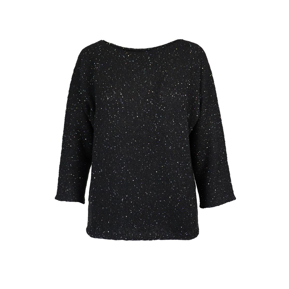 Knitted wool sweater with three-quarter sleeves Black Gran Sasso