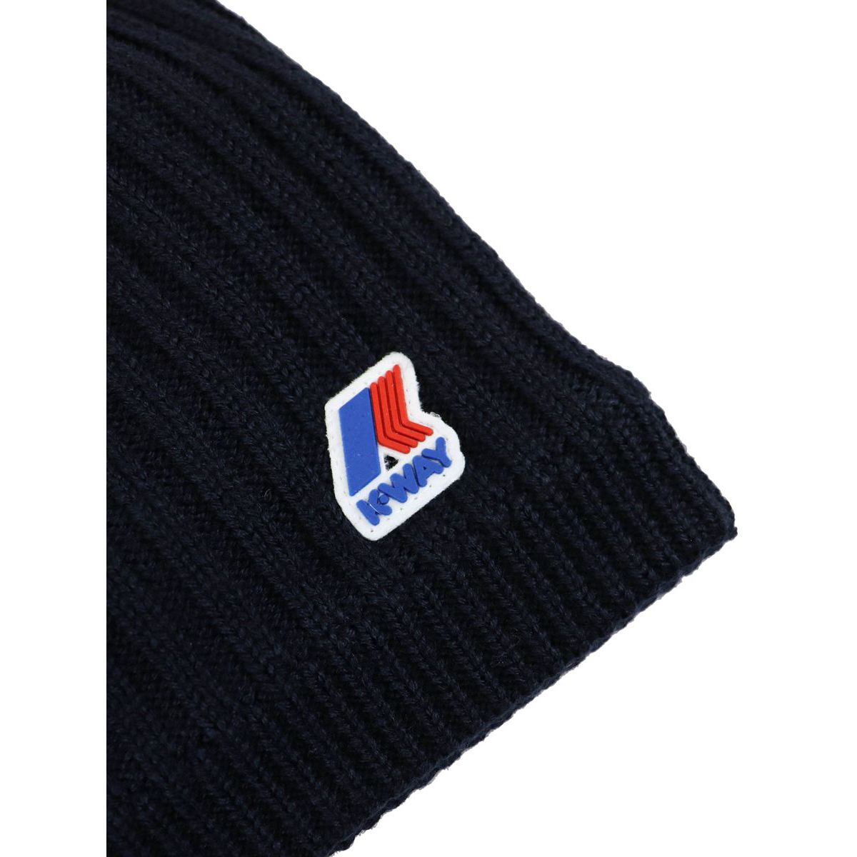 Chantal hat in English ribbed wool with fleece lining Navy K-Way