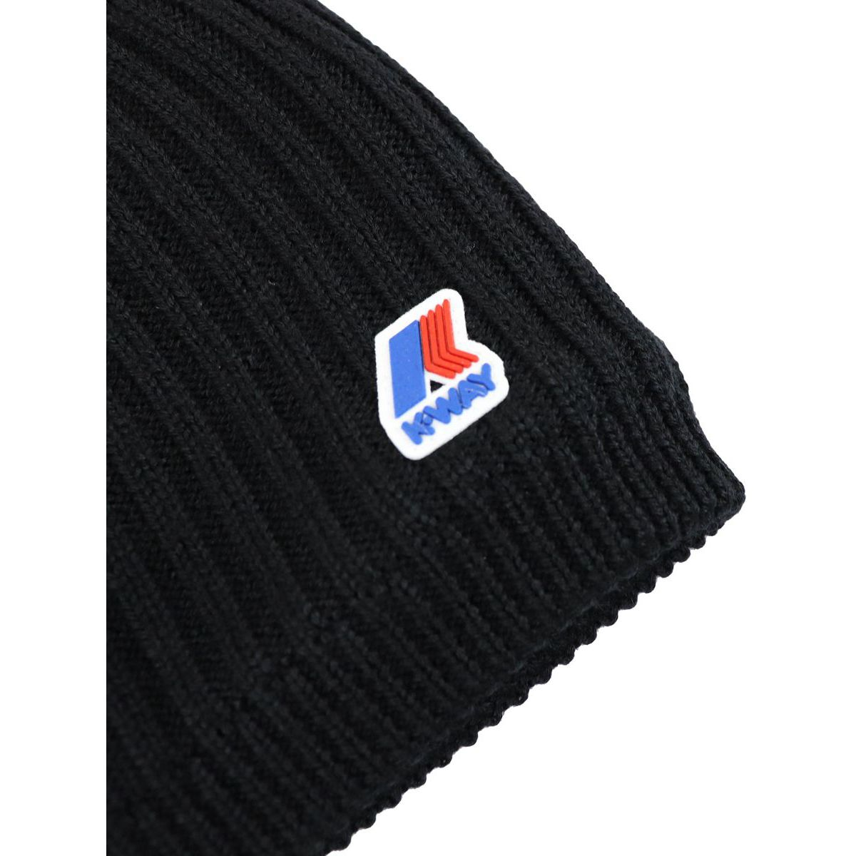 Chantal hat in English ribbed wool with fleece lining Black K-Way