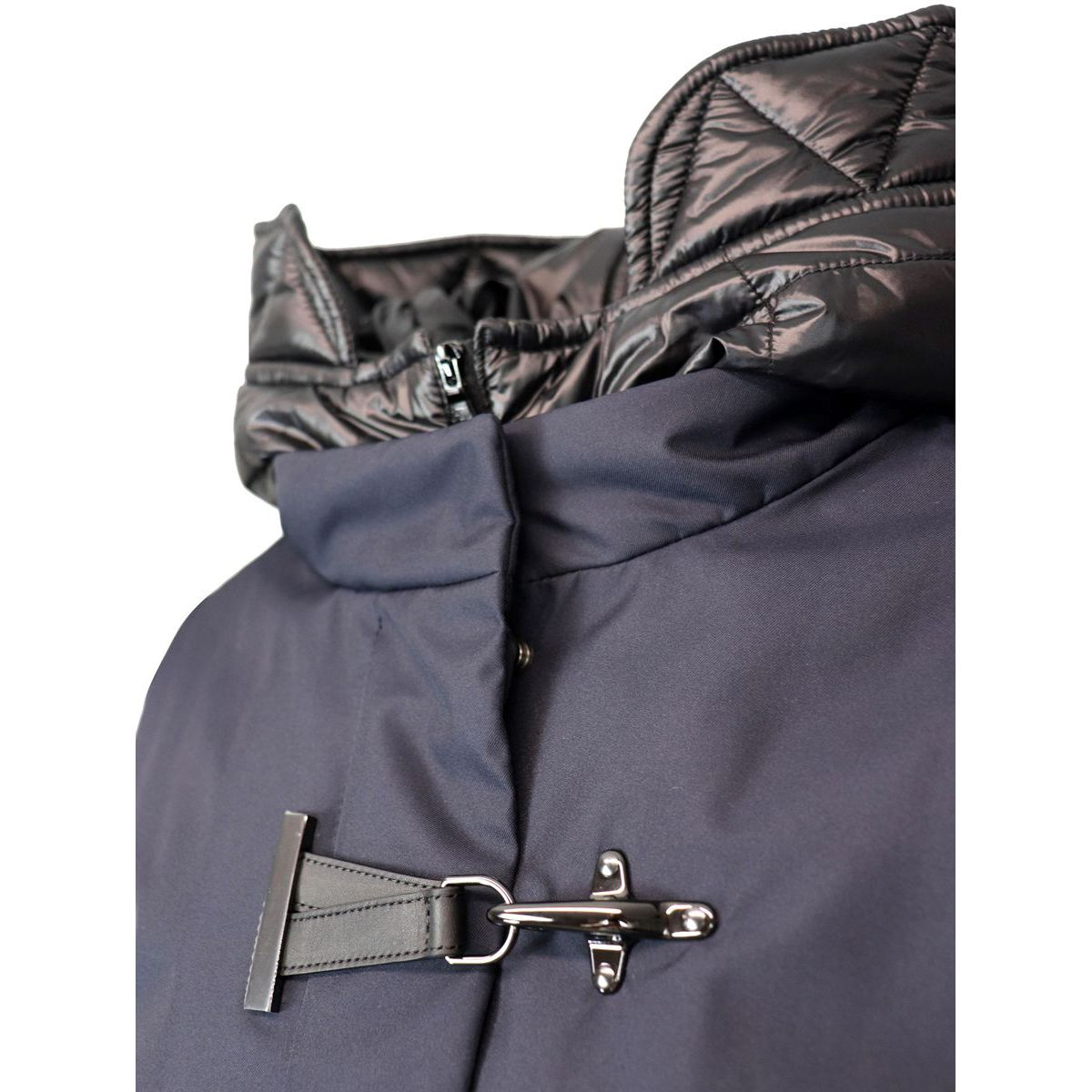 Water repellent jacket with hood and hook Blue Fay