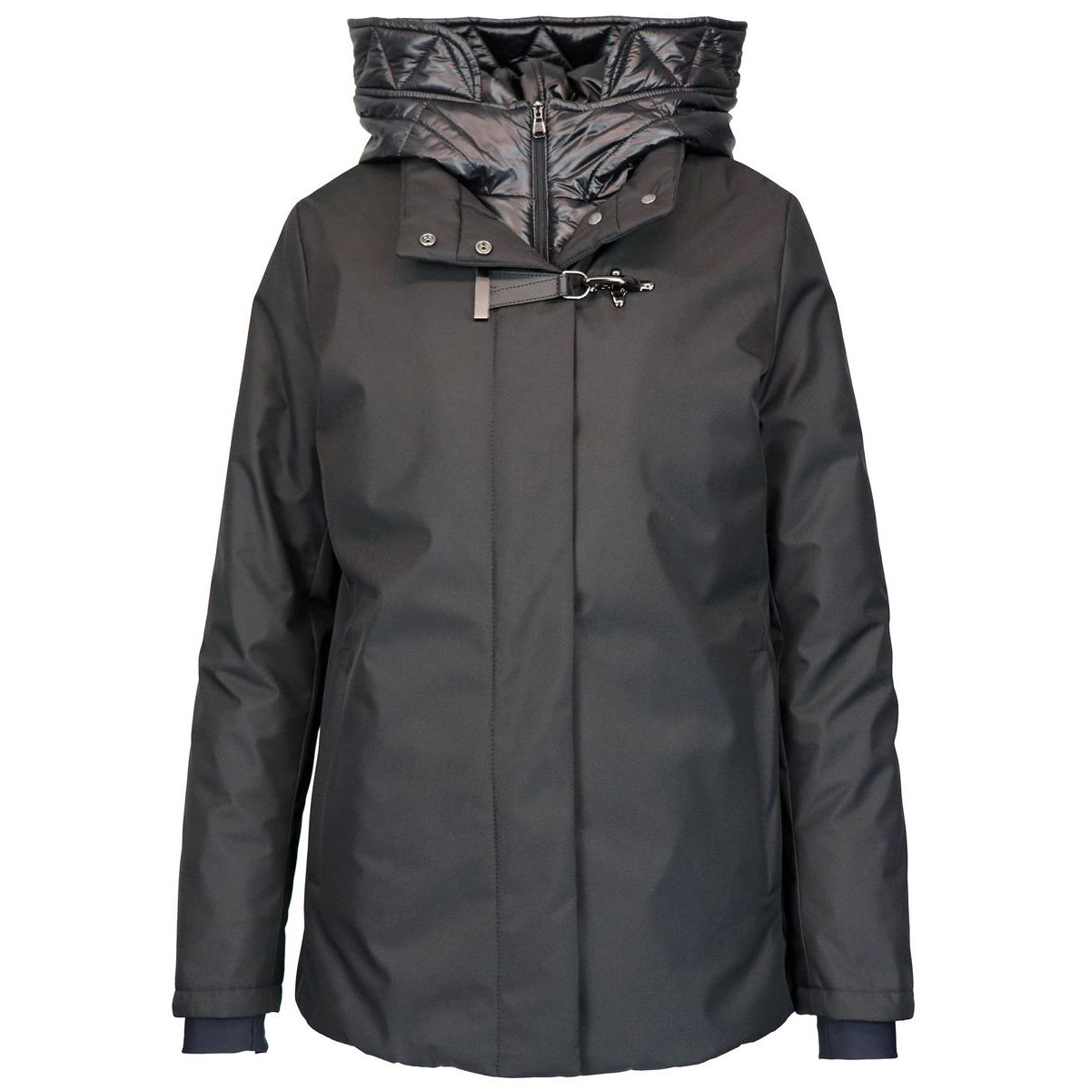 Water repellent jacket with hood and hook Black Fay