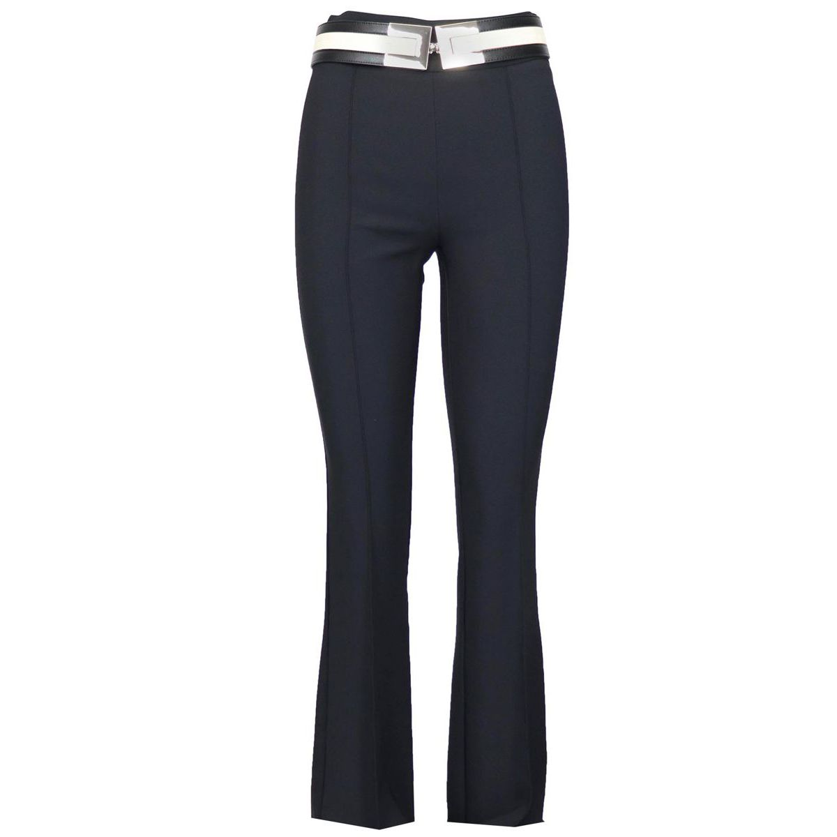 High-waisted crepe trousers with belt Black Elisabetta Franchi