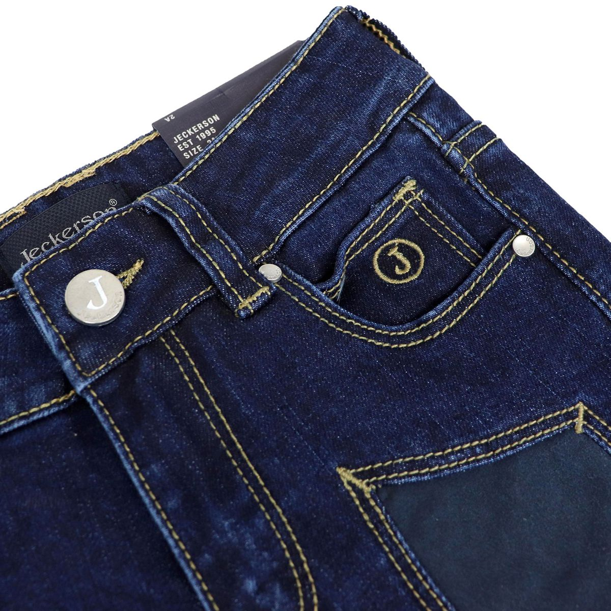 5 pocket jeans with alcantara patches Blue denim Jeckerson