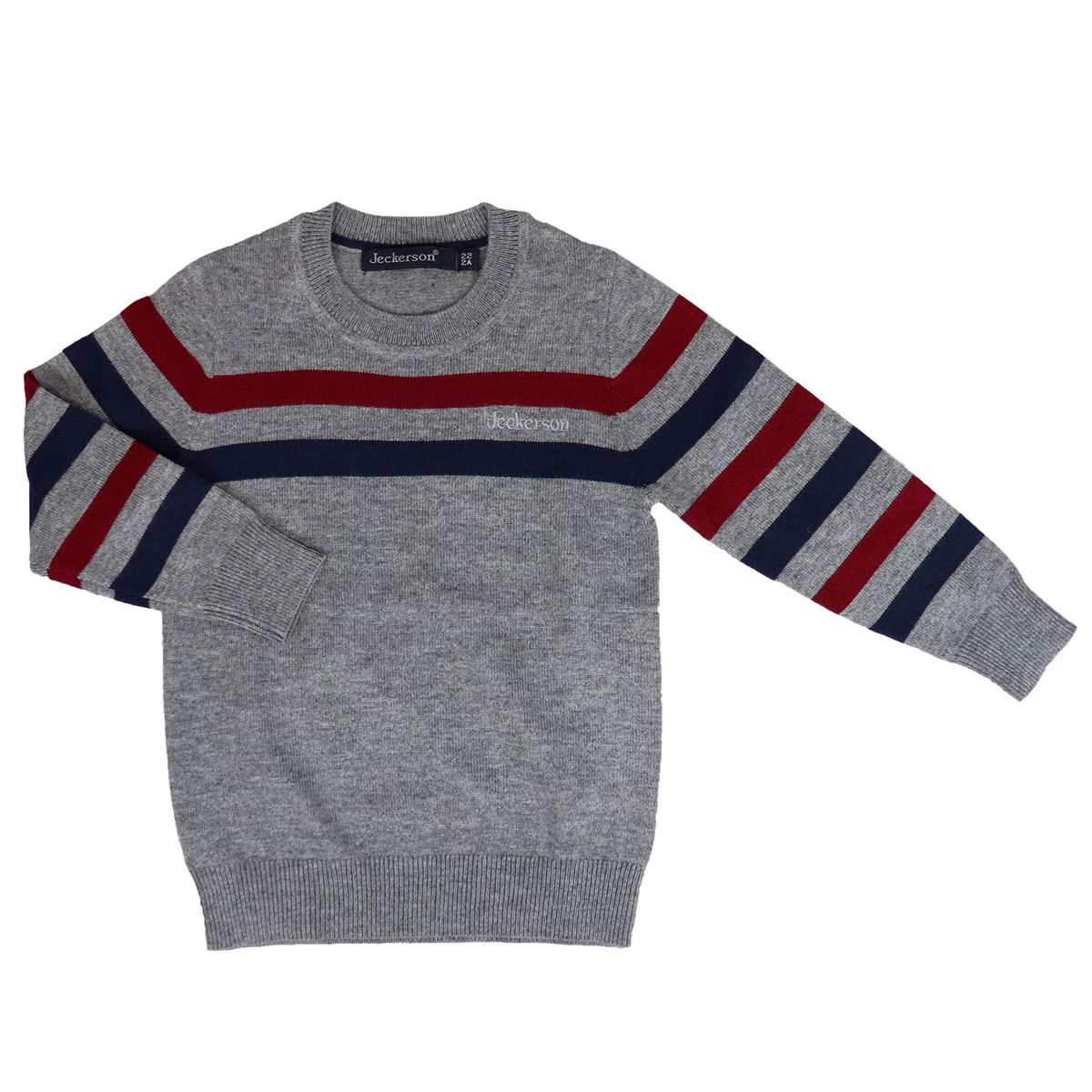 Cashmere blend crew neck sweater with contrasting stripes Gray / burgundy Jeckerson
