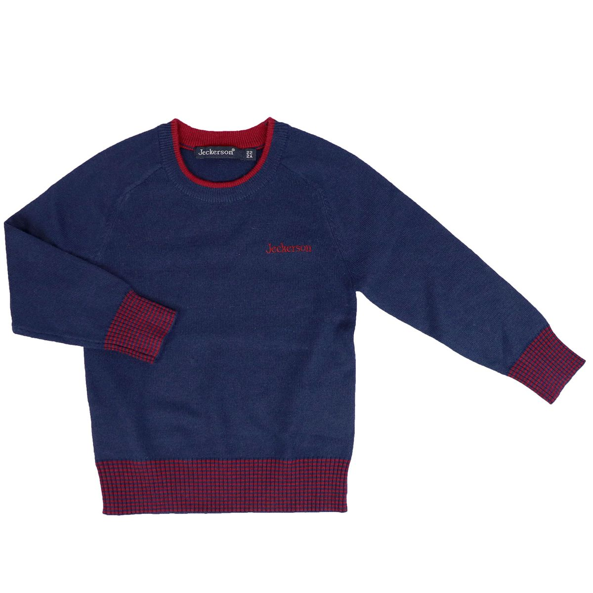 Sweater with profiles and contrasting logo in cashmere blend Blue / burgundy Jeckerson