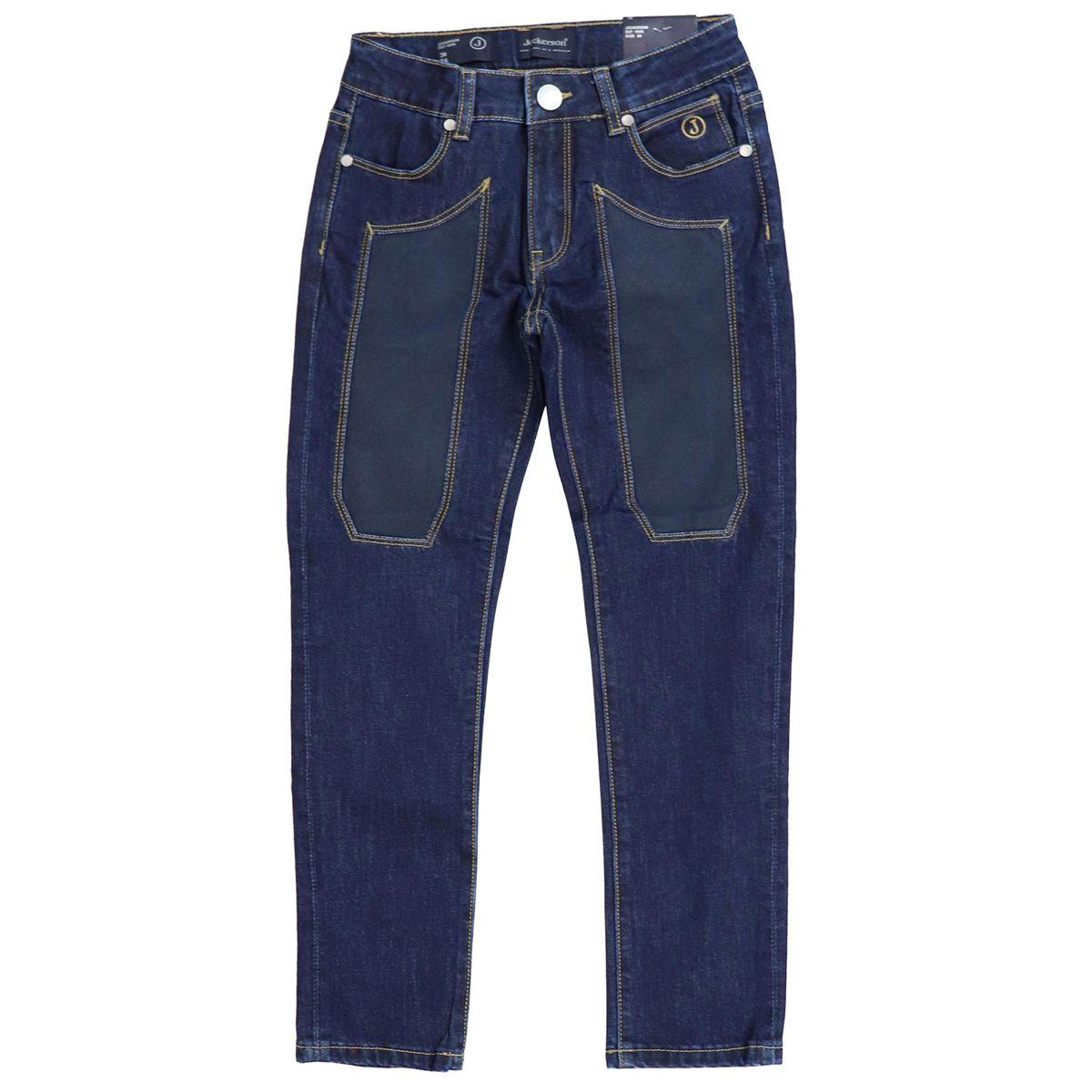 Dark denim jeans with alcantara patches Blue denim Jeckerson