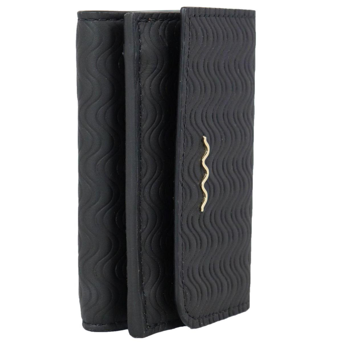 Blandine Silk Wallet in leather Black Zanellato