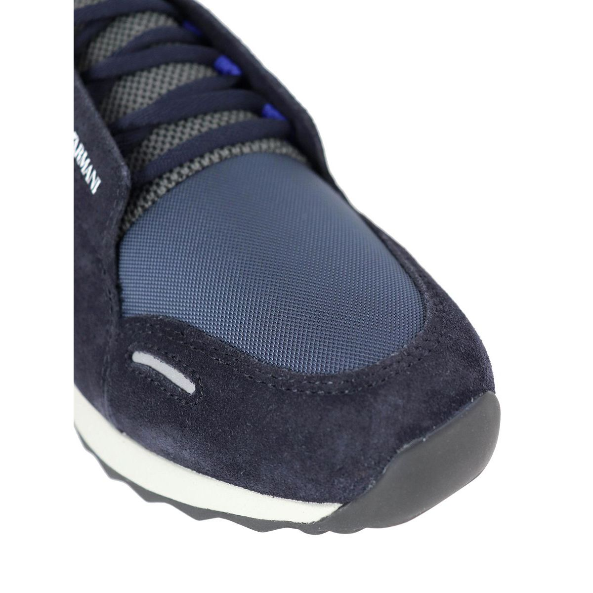 Two-material sneakers with logo Navy Emporio Armani