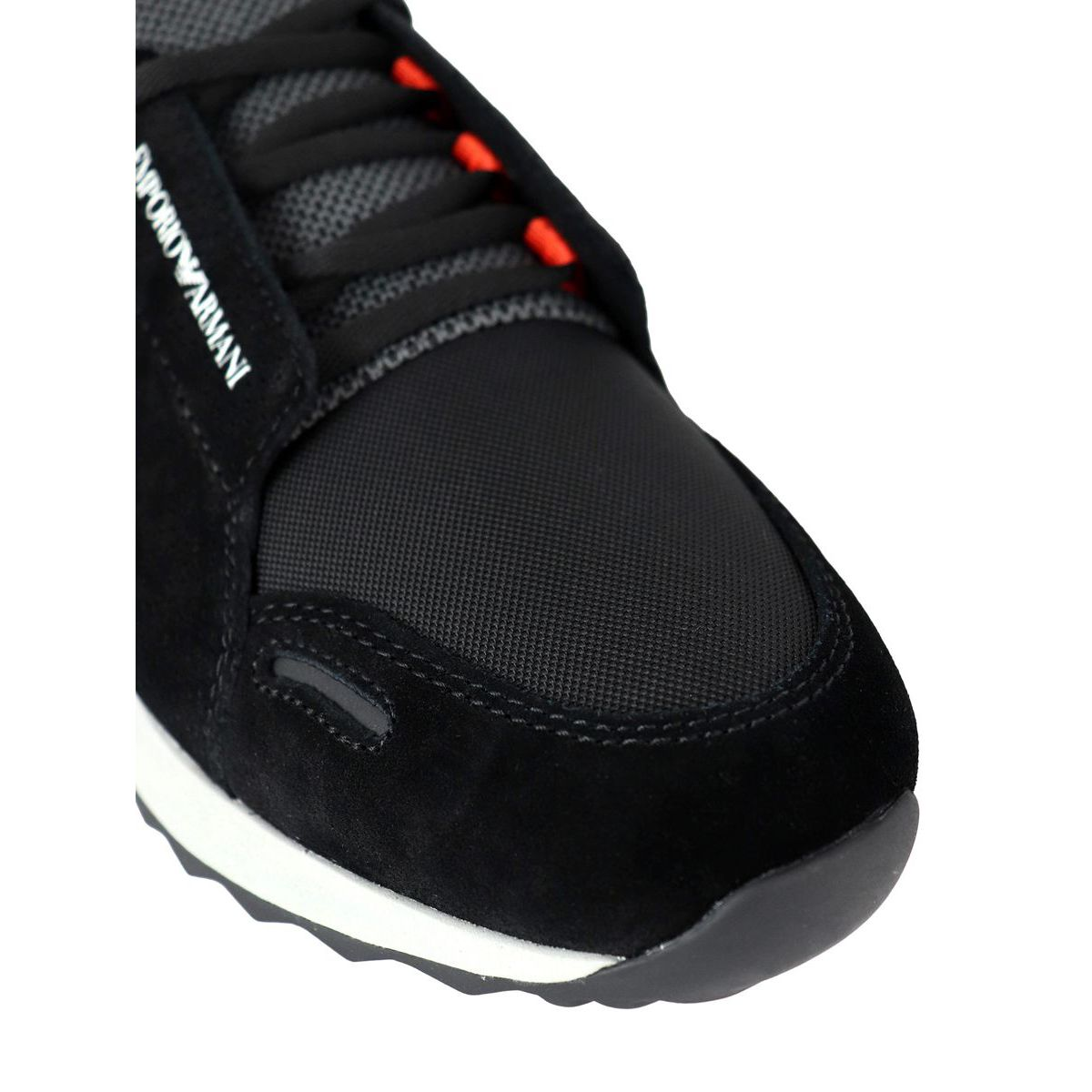 Two-material sneakers with logo Black Emporio Armani