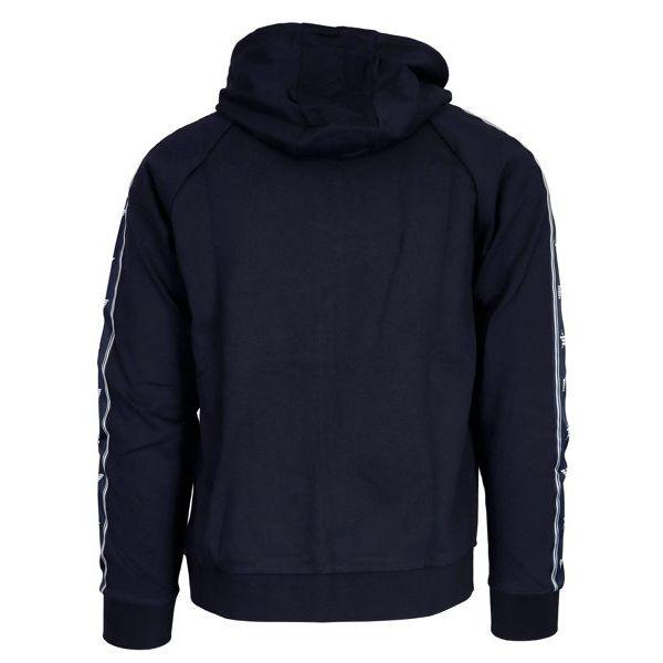 Cotton blend sweatshirt with zip and hood Navy Emporio Armani