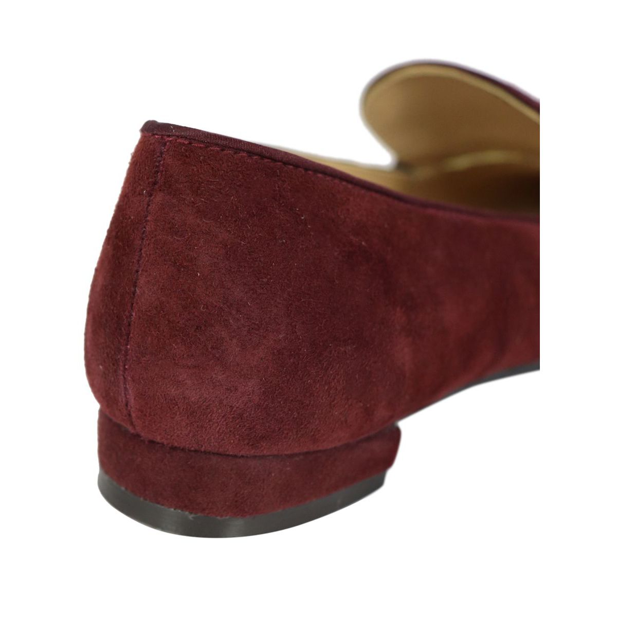 Pointed suede moccasin with rhinestone buckle Bordeaux Maliparmi